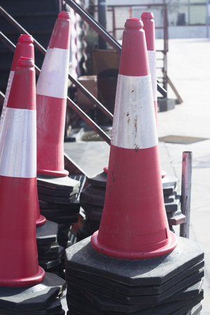 Fire station firefighter training equipment Traffic cones bollards used by fireman to simulate fires drills.