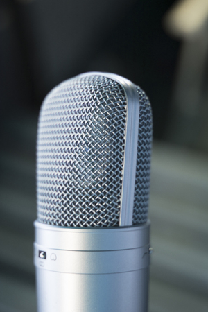 Sound recording studio large diaphragm voice microphone for voiceover, singing and instruments. Reklamní fotografie