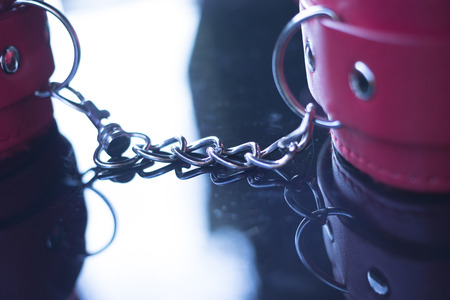 Leather  handcuff restraints for kinky adult sexy domination games. Stock Photo - 107563923