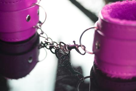 Leather bondage s&m handcuff