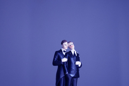 Cake topper gay wedding couple of two male grooms holding romantic marriage embrace of LGBT love. 免版税图像