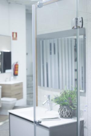Bathroom tap sink showroom display of new design option for home building improvement works.