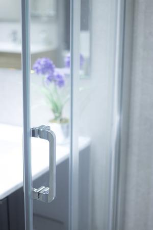 Bathroom shower showroom display of new design option for home building improvement works.