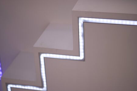 LED modern light strips and bulbs on display in store lighting department. Stock Photo