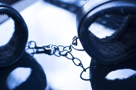 Leather bondage s&m handcuff restraints for kinky adult sexy domination games. Banco de Imagens
