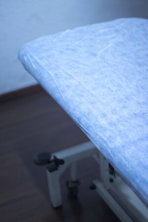 Physiotherapy medical treatment bed for patients in physiotherapist clinic. Imagens