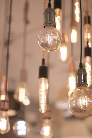 LED modern lights and bulbs on display in store lighting department. Stock Photo