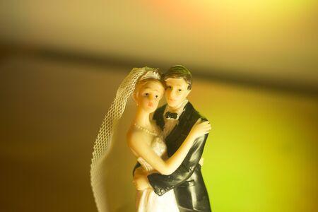 Wedding couple marriage cake topper plastic figures with tuxedo evening suit, white weddding dress veil.