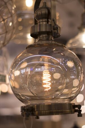 LED modern lights and bulbs on display in store lighting department. 写真素材