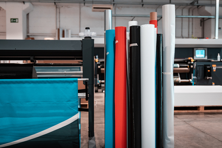 Professional  printing facility, big vinyl rolls, ready for large printer suplly. Glossy, matte, ecological materials, mostly used for commercial billboards, urban advertising, and oversized projects.