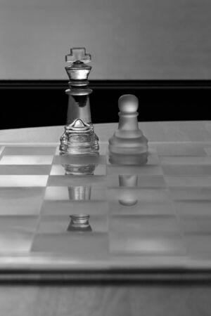 King, Pawn, Chess - Business Concept Series - Mentor, Coach, Guru, Business support, success  Stock Photo