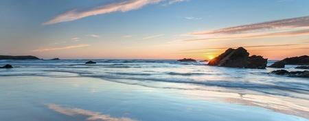 Sunset over Ocean Panorama, beautiful sky, pretty water