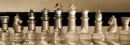 amalgamate: Chess Pieces  Set - as business concept series: strategy, company, corporation, power, competition, leadership, team, win. Panorama, in sepia.