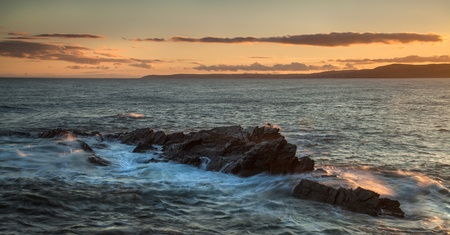 Panorama sunset, wide shot, ocean landscape over sea - taken in Cornwall, UK Stock Photo - 17302536