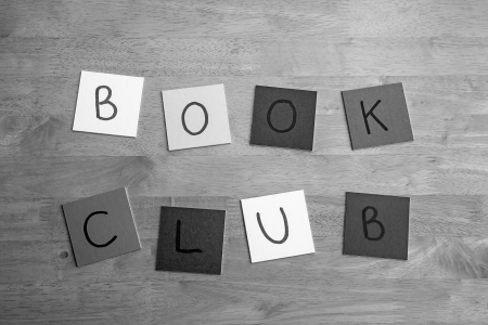 Book Club  in letters and words on square tiles, for books, education, libraries, editorial, schools   teachers etc Stock Photo - 17495105
