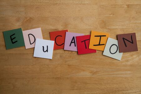 EDUCATION  written on color tiles for Schools, Teaching, Educational, Editorial Stock Photo - 17501340