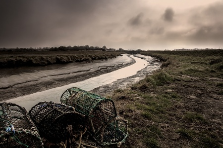 crab pots: Marshes and Crab Pots in Lincolnshire, England  Stock Photo