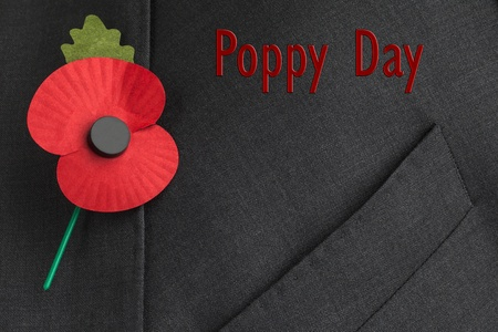 Poppy on jacket lapel, for Poppy Day or Remembrance Day  photo