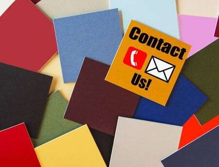 Contact sign for Business   Customer Service - phone, text, call  Stock Photo