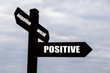 Signpost for positive thinking - for mentoring, business attitude   life  photo