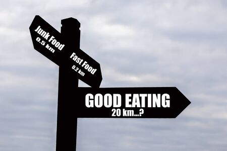 hard to find: Sign for food and drink - hard to find good food, easy to find junk food  Stock Photo