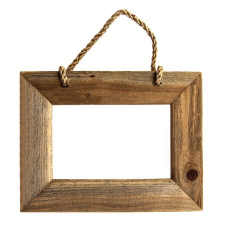 Rough Grain Wooden Picture Frame - Isolated on White Background  Stock Photo
