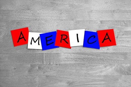 America in words - sign  banner. photo