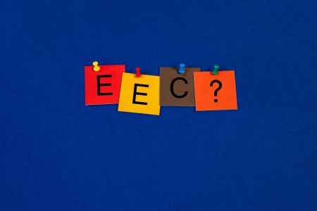 eec: EEC - Eurosceptic ...? Business terms sign series, tiles and letters on noticeboard with pins. Stock Photo