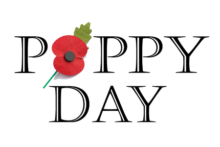 Poppy Day in words on white background with red poppy for Remembrance Day photo