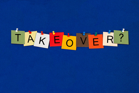 takeover: Takeover - business terms sign series Stock Photo