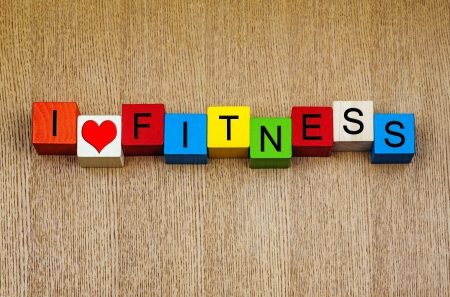 keeping: Fitness - I love fitness - for exercise, sports and keeping fit Stock Photo