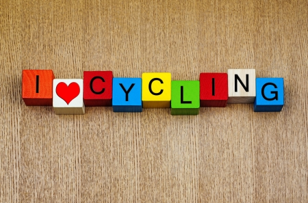 I Love Cycling - sign for racing, cycling and bicycles 版權商用圖片