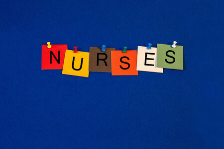Nurses -  sign for science, biology and medical health care photo