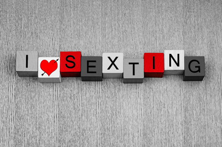 I Love Sexting - sign for explicit text messages and sexy photos by mobile phone Stock Photo