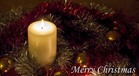 Christmas Candle and Tinsel - Merry Christmas! photo