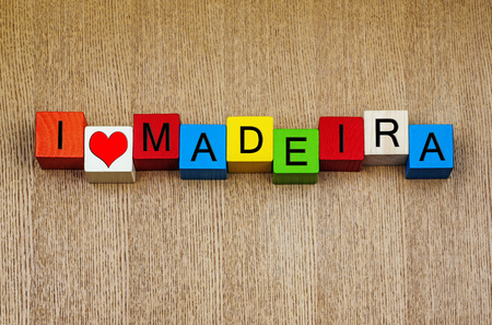 portugese: Madeira - sign series for travel locations and holiday resorts - Portugese island