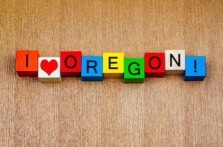I Love Oregon - for USA - sign series for travel locations  and holiday destinations photo