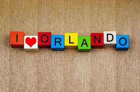 universal love: Amo Orlando - series de distintivos para los destinos de viaje o de vacaciones popular, Florida, Estados Unidos.