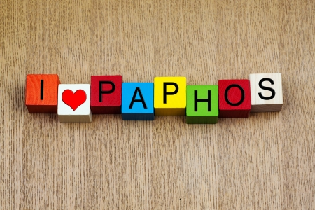 locations: Paphos, Cyprus - sign series for travel destinations and holiday locations
