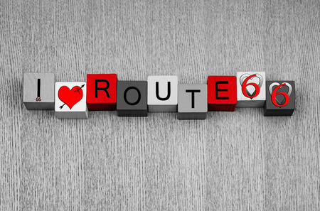 I Love Route 66 - sign or emblem series for American icons and travel - The Mother Road - with heart symbols photo