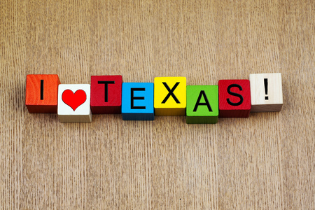 I Love Texas, America - sign series for travel destinations and capital cities Stock Photo