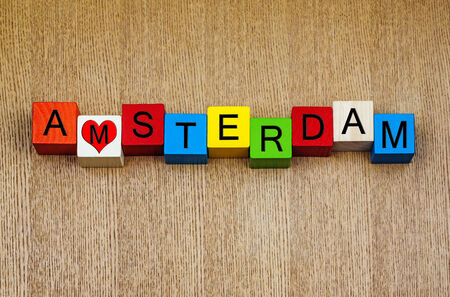 I Love Amsterdam, Netherlands - sign series for cities, travel and holidays