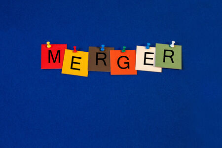 takeover: Merger - sign series for business - corporate takeover, competition, partners  Stock Photo