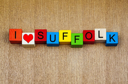 suffolk: I Love Suffolk, sign for English counties and place names Stock Photo