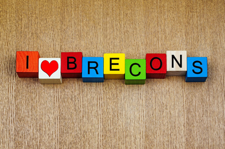 brecon beacons:  The Brecons, Brecon Beacons, Wales, sign series for mountains, place names, travel and holidays