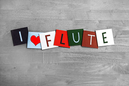 woodwind: I Love Flute, sign series for music, woodwind musical instruments, gigs, bands and orchestra Stock Photo