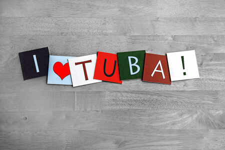 I Love Tuba, sign series for music, brass musical instruments, gigs, bands and orchestra photo