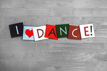 Amo bailar, firmar serie para el baile, las artes y las discotecas! Foto de archivo