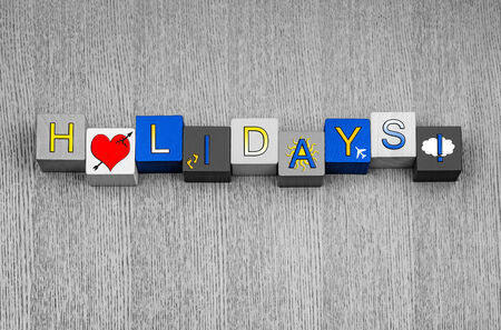 Love Holidays, sign series for vacations, holiday, time off and traveling abroad Stock Photo