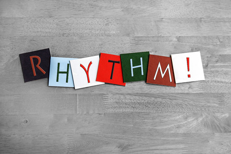 making music: Rhythm, sign series for making music, vocals, singing, dance, musicians, bands and choirs. Stock Photo